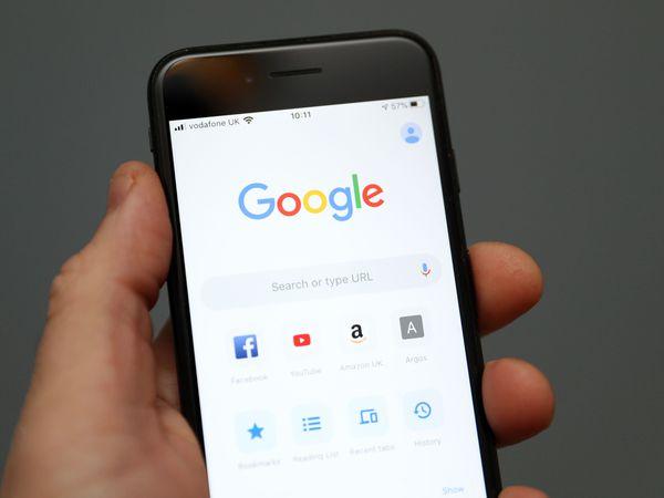 Google on a smartphone