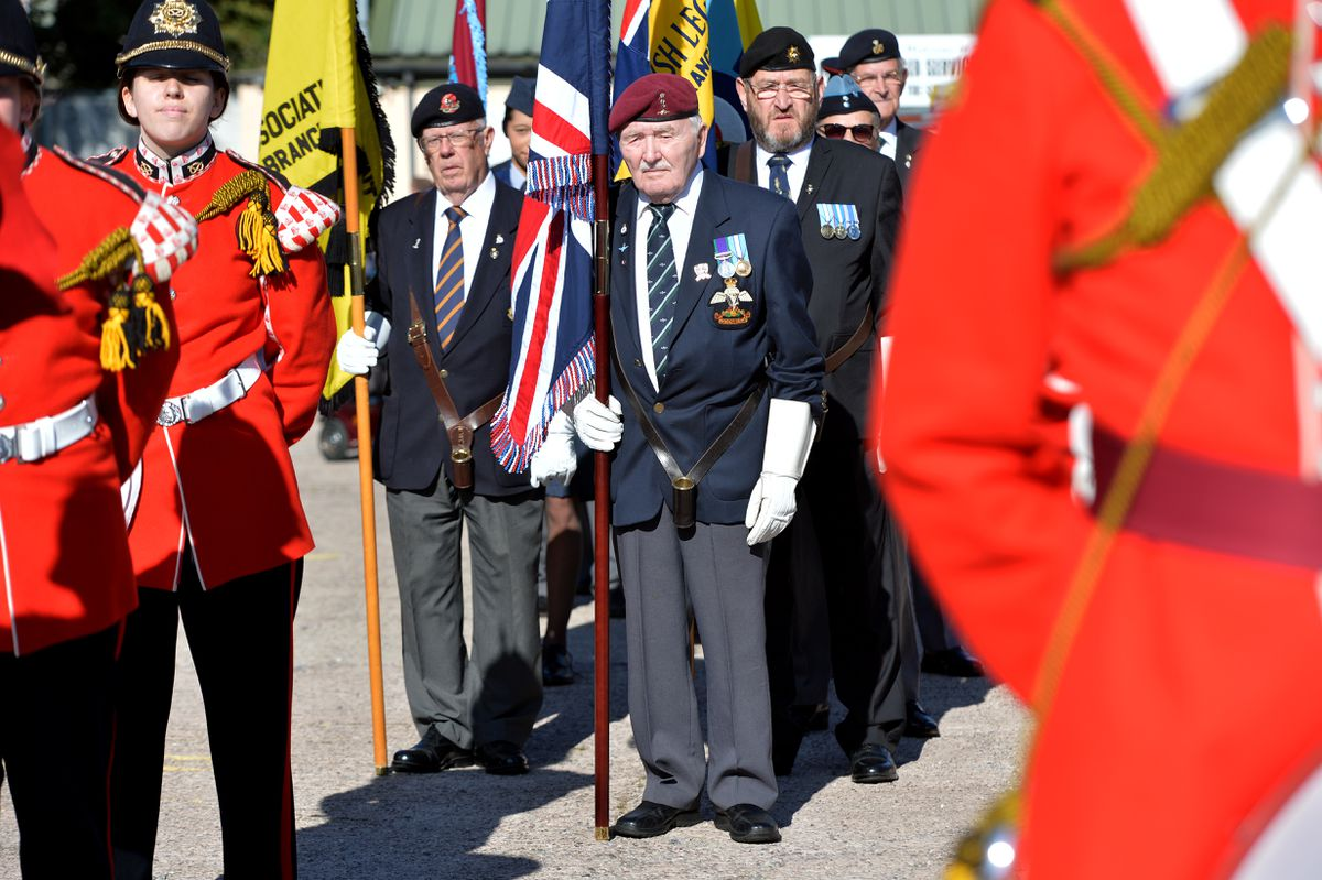Veteran Ron Mattison, 94, (centre, red beret) takes part in the Freedom March to honour the Staffordshire Regiment as they commemorate the 75th anniversary of the Battle of Arnhem