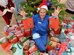 Day hospice staff nurse Sian Smith from Mary Stevens Hospice which will deliver festive packages to patients.