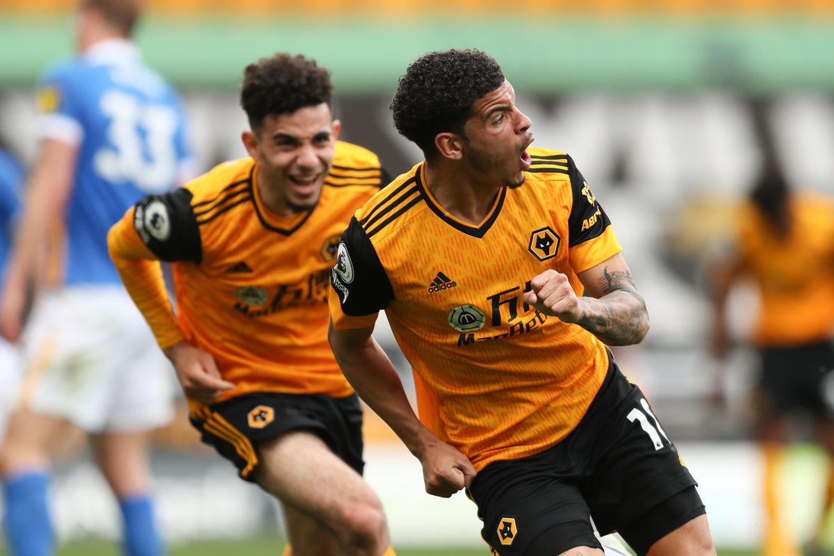 Morgan Gibbs-White of Wolverhampton Wanderers celebrates after scoring a goal to make it 2-1 (AMA)