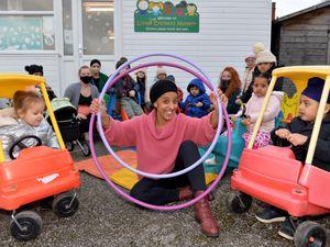 Manager Suki Kaur Khera, staff and children at Little Crickets Nursery, Walsall
