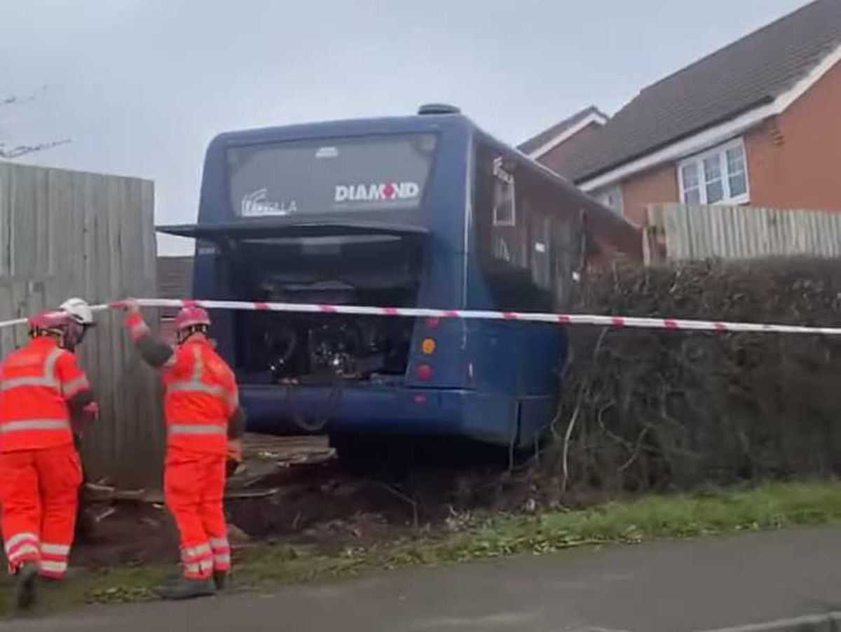 The bus collided with a fence and a house. Photo: Spotted wednesbury 0121 on Facebook
