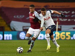 Aston Villa's Ezri Konsa (left) and Tottenham Hotspur's Carlos Vinicius (right)