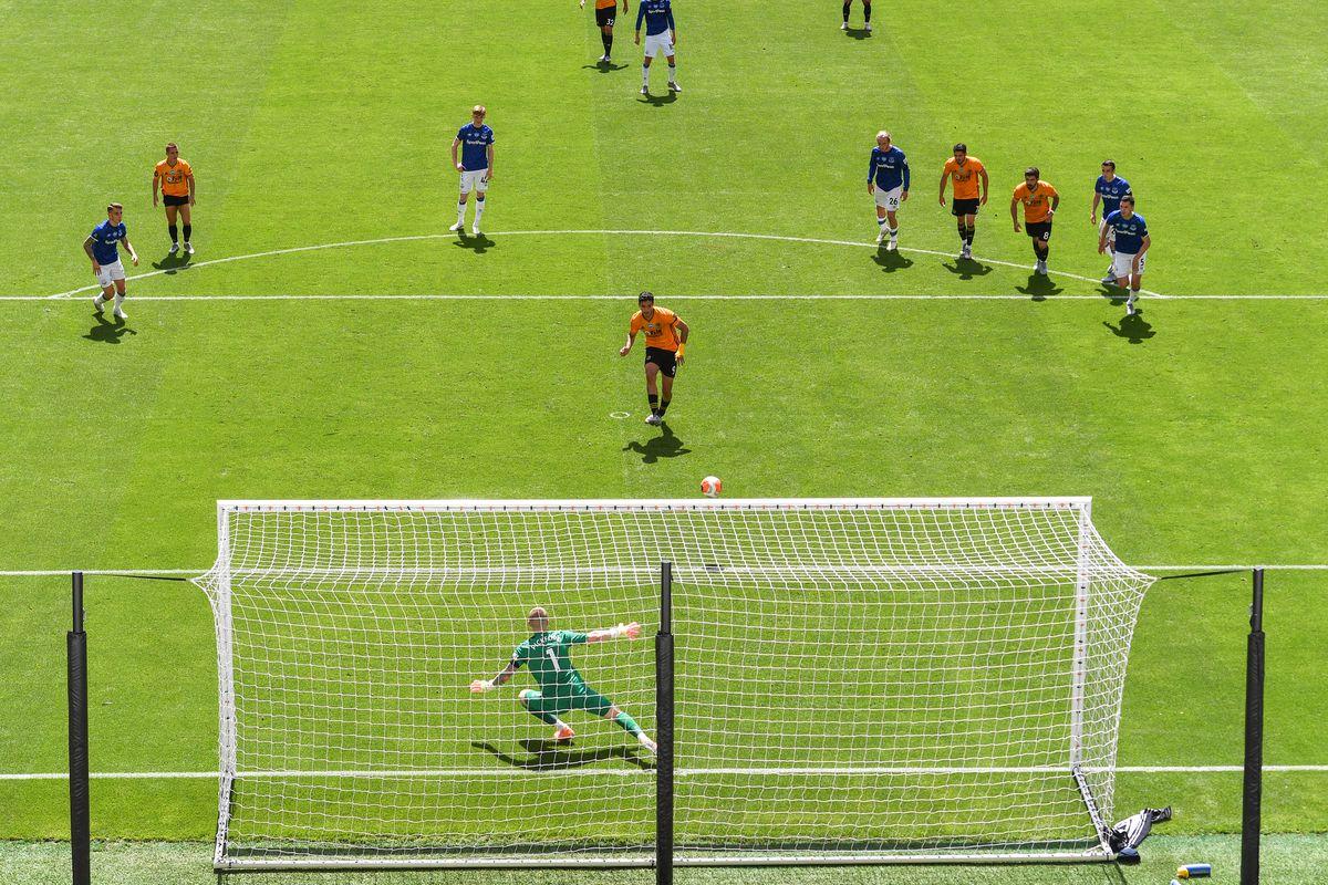 Raul Jimenez of Wolverhampton Wanderers scores a goal to make it 1-0 (AMA)