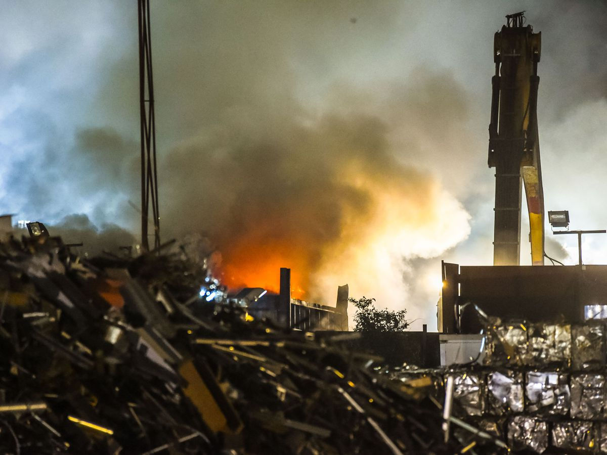 The fire at EMR Recycling in Darlaston. Photo: SnapperSK