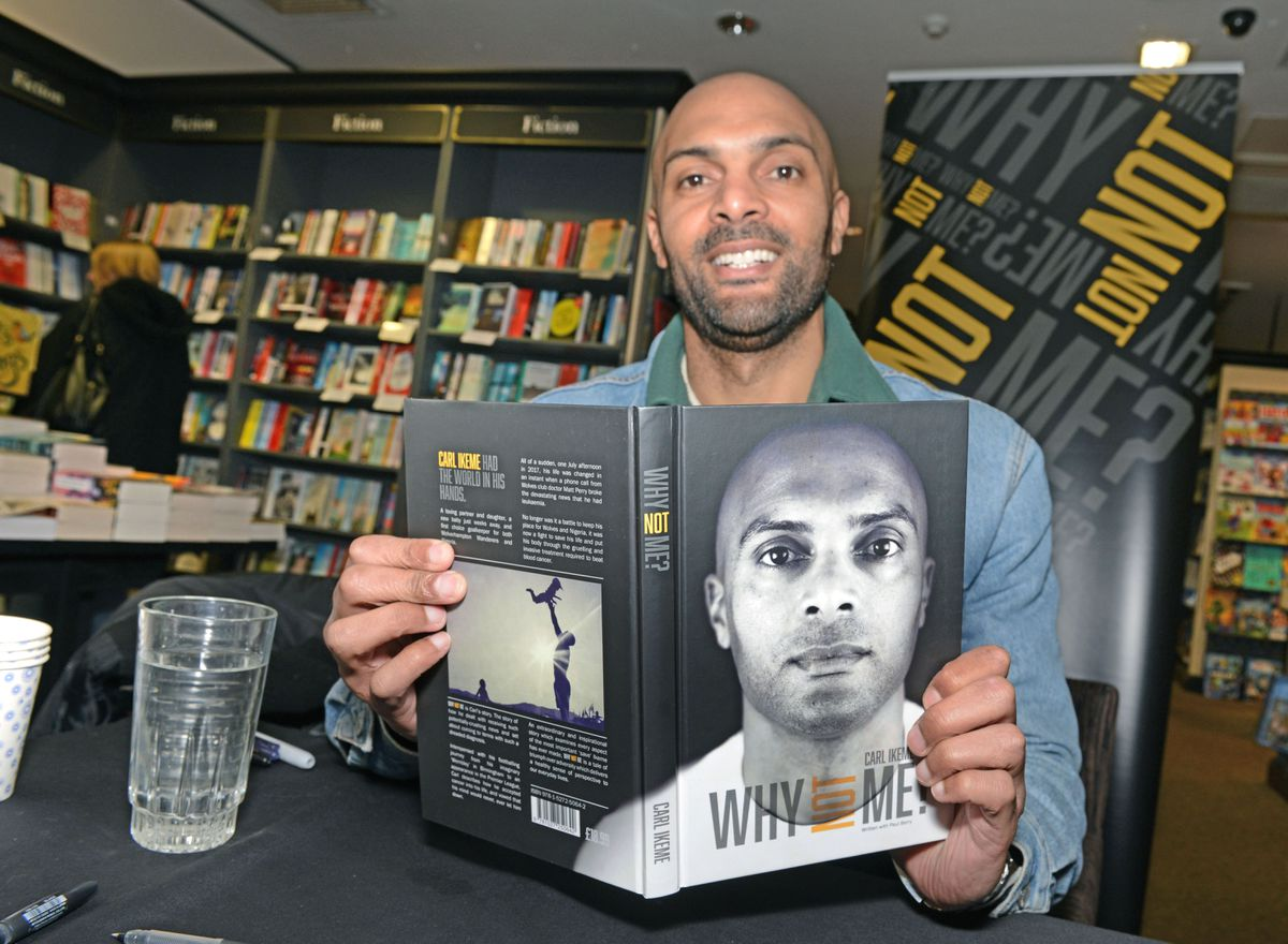 Former Wolves keeper Carl Ikeme signing copies of his new book 'Why Not Me' at Waterstones in Wolverhampton