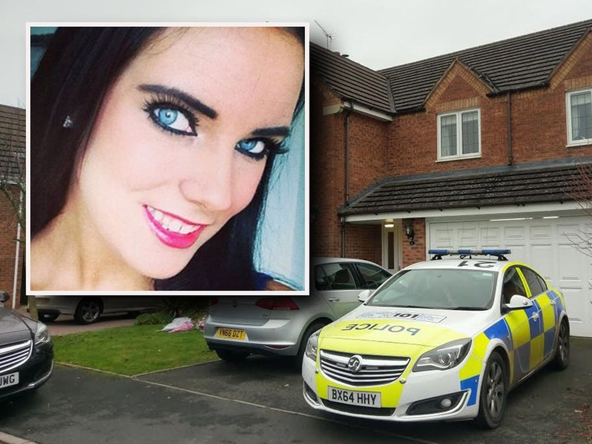Police at the house where Natalie Connolly, inset, died