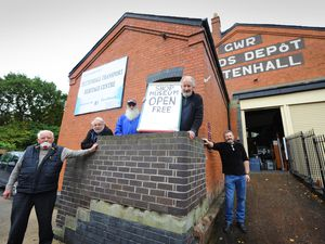 WOLVERHAMPTON PIC  /  DAVID HAMILTON PIC / EXPRESS AND STAR 30/10/20 Ready to re-open Tettenhall Transport Heritage Centre, Tettenahall, volunteers (left-right) Lewis Plamer, Alen Dickens, Rick Kruczek, curator Alec Brew, and Peter Stant..