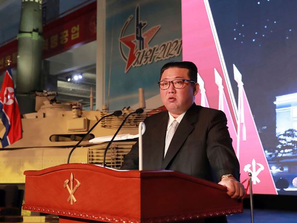 North Korean leader Kim Jong Un speaks during a recent exhibition of weapons systems in Pyongyang