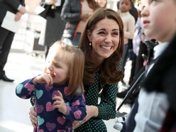 Newly-named patron Kate visits children's hospital with William