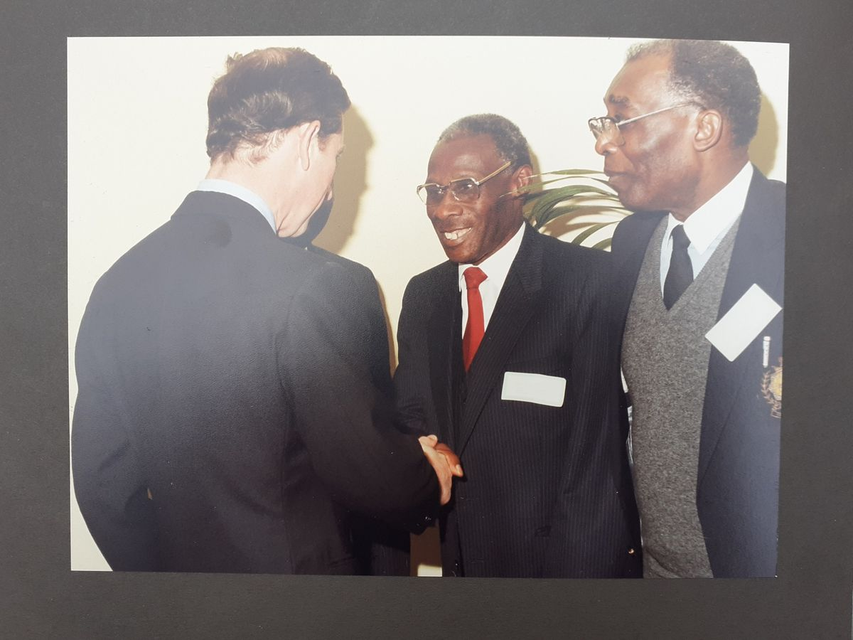 Bishop Plummer (centre) greets Prince Charles during a visit to Wolverhampton's Moathouse Lane Project
