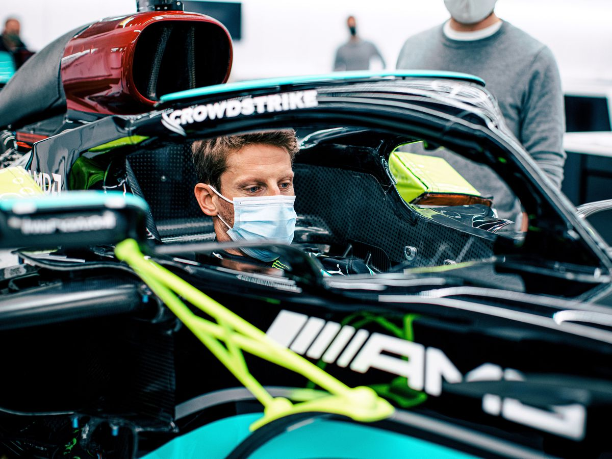 Romain Grosjean in a Mercedes
