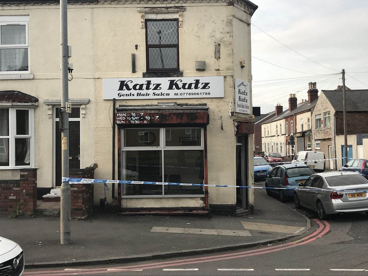 Police tape at the scene of the shooting on Wolverhampton Road