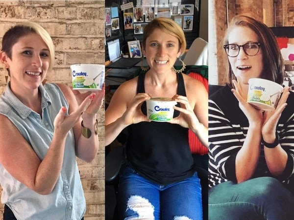 Anniversary photoshoot for cottage cheese left in office fridge for seven years