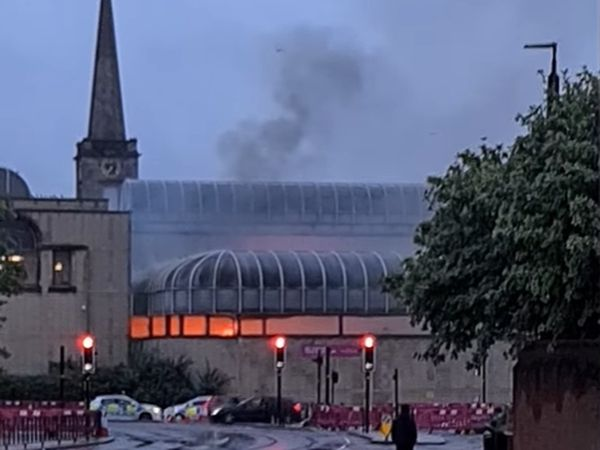 Smoke pours from the fire in Wolverhampton city centre. Photo: Shane Green/Facebook