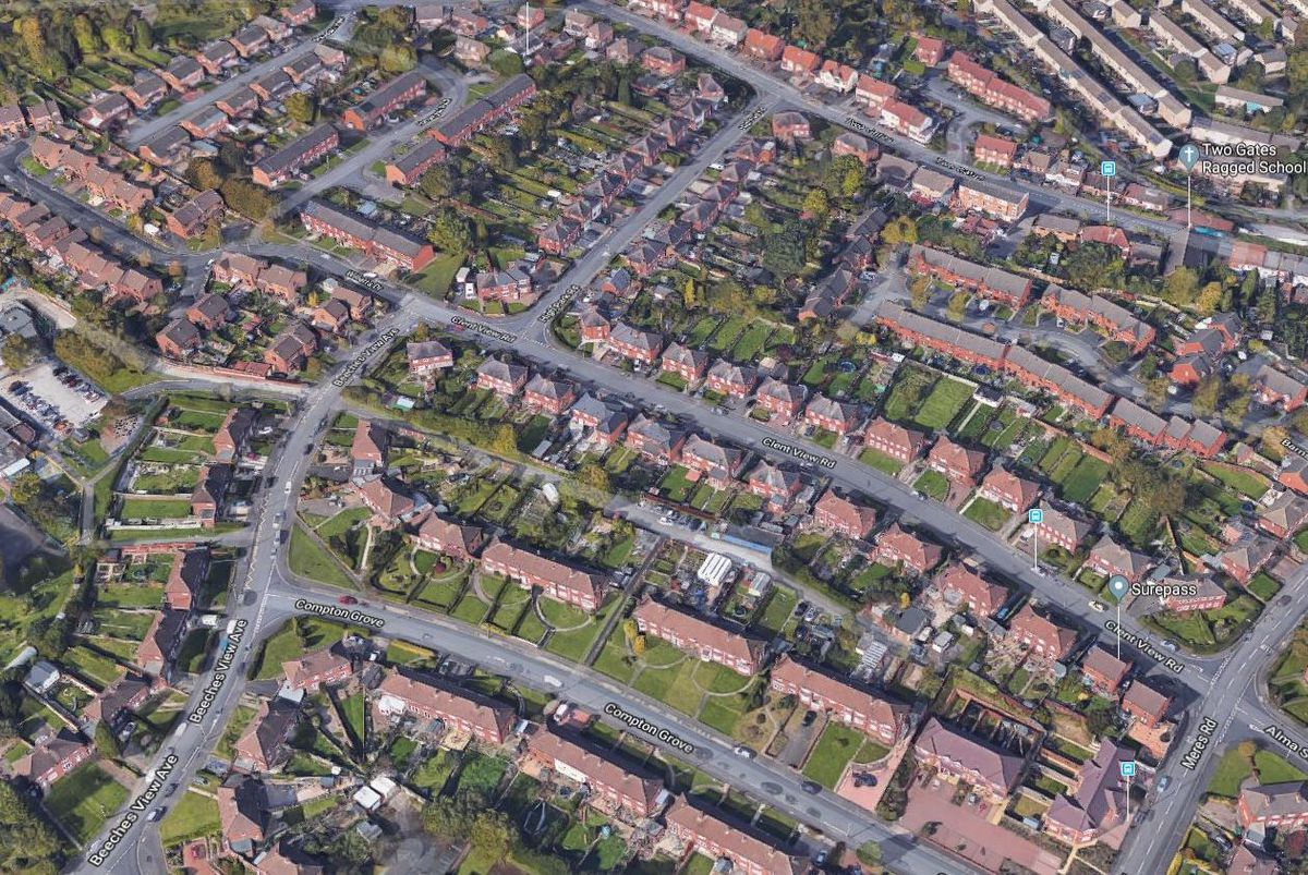 An aerial view showing Clent View Road, where the incident happened. Photo: Google