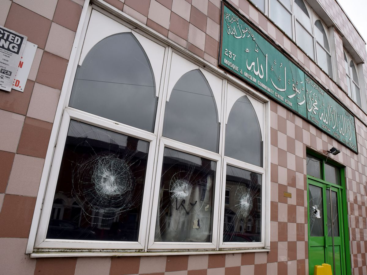 PIC FROM Michael Scott / Caters News - (PICTURED: Mosque & Muslim Community Centre in Aston, Birmingham) - Four Mosques have been vandalised in the early hours.Police were called to Birchfield Road, Birmingham, today (THURS) after reports of a man smashing a mosque with a sledgehammer at 2.32am.Since the first report, three other places of worship were attacked on Witton road, in Aston, and Broadway, Perry bar. The motive behind the attacks, which are being treated as linked is yet to be discovered however West Midlands Police and the West Midlands Counter Terrorism Unit are investigating the instances.SEE CATERS COPY