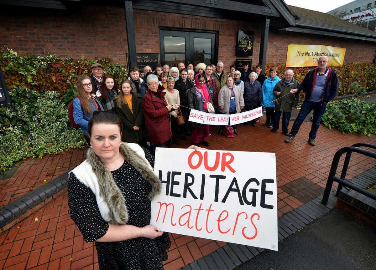 Sarah Jane Cooper and fellow protesters, who included former leather tradespeople