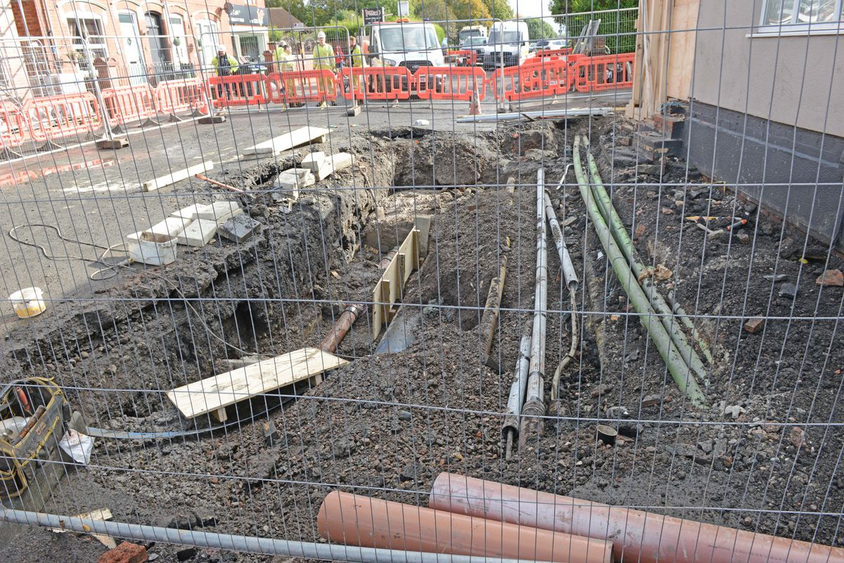 How Park Lane West looks today as repairs continue to the roadway where the main burst