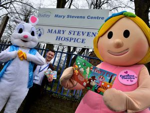 DUDLEY COPYRIGHT EXPRESS AND STAR STEVE LEATH 26/03/2021..Pic at Mary Stevens Hospice, Stourbridge, to launch a new book in a series of books by Funtime Theatre, that is helping raise money for the Hospice. Fairy Flo (Will Phipps), is pictured with the Easter Bunny (Rachel Chadwick), and James Totney (from the Hospice)..