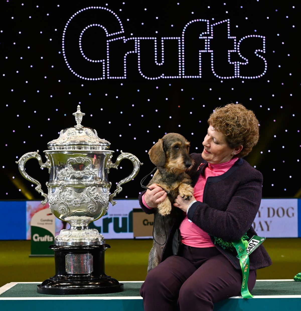 Kim McCalmont with her Wired Haired Dachshund called Maisie, Best in Show on the fourth day of Crufts 2020