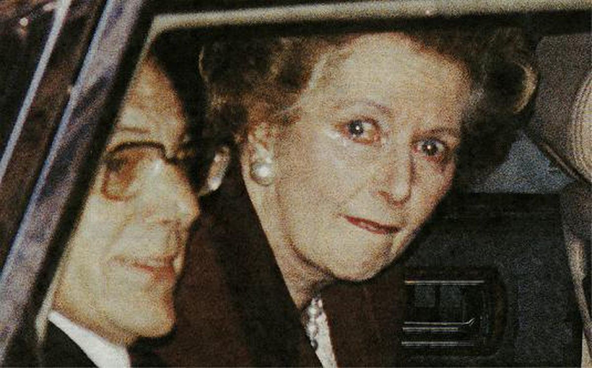 A tearful Margaret Thatcher leaves Downing Street for the last time