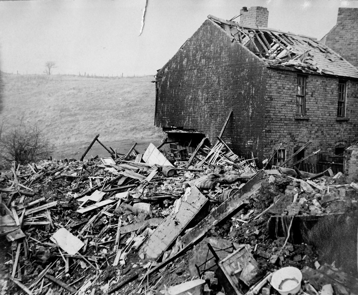 A house wrecked by a bomb in Rowley Regis in November 1940
