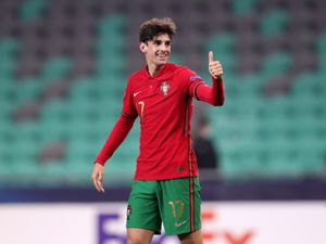 Portugal's Francisco Trincao celebrates scoring their side's second goal of the game from a penaltyduring the 2021 UEFA European Under-21 Championship group D match at the Stozice Stadium in Ljubljana, Slovenia. Picture date: Sunday March 28, 2021..