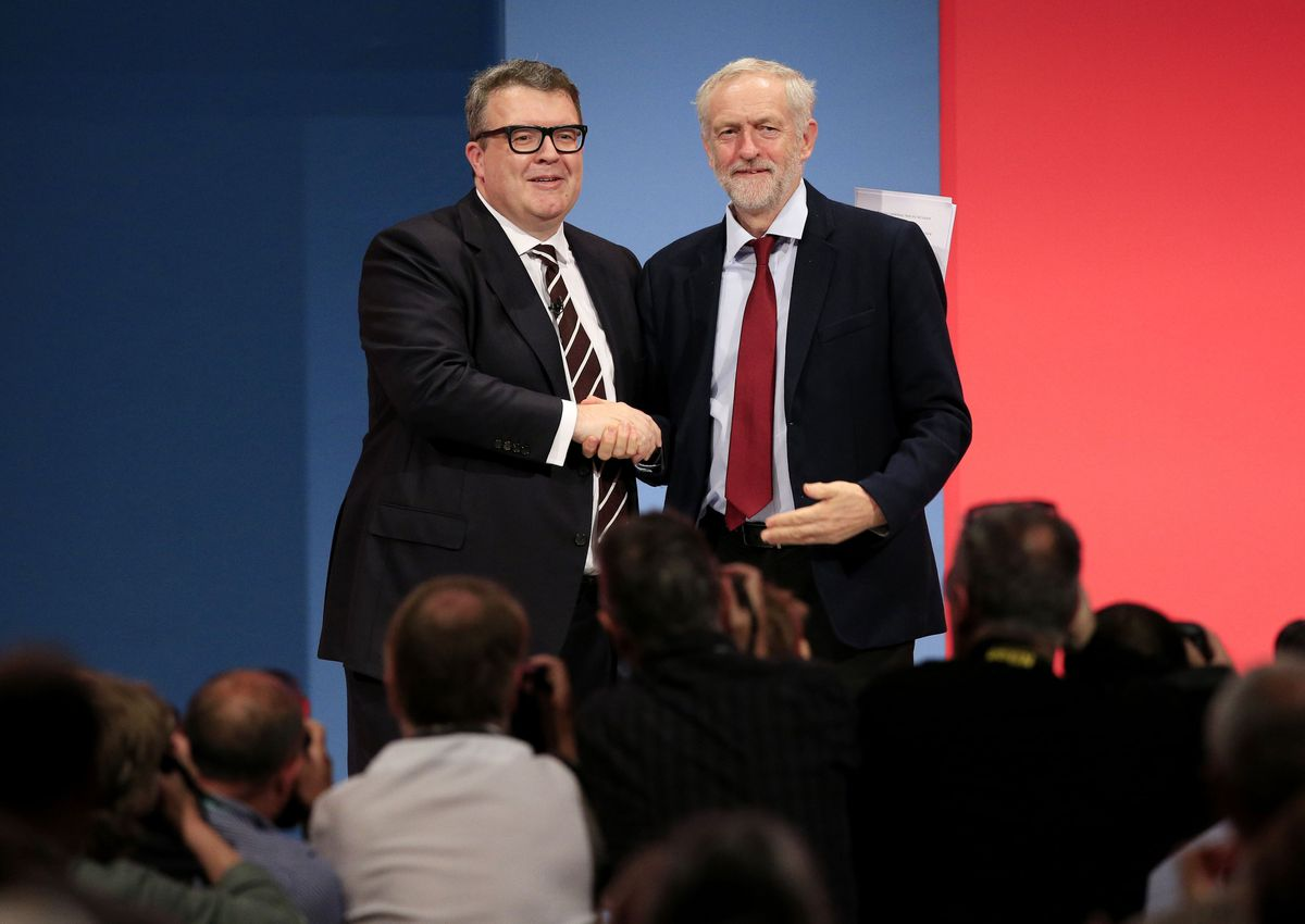 Mr Watson, pictured with Jeremy Corbyn in 2015, used to weigh 22 stone