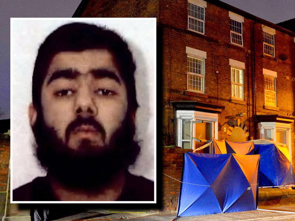 Usman Khan, inset, was living on Wolverhamptoon Road in Stafford before the attack