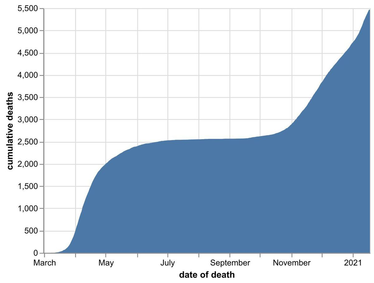 The cumulative number of hospital coronavirus deaths, by NHS trust, in the Black Country, Birmingham and Staffordshire as of January 19. By date of death, not the date the death was announced. Data: NHS England