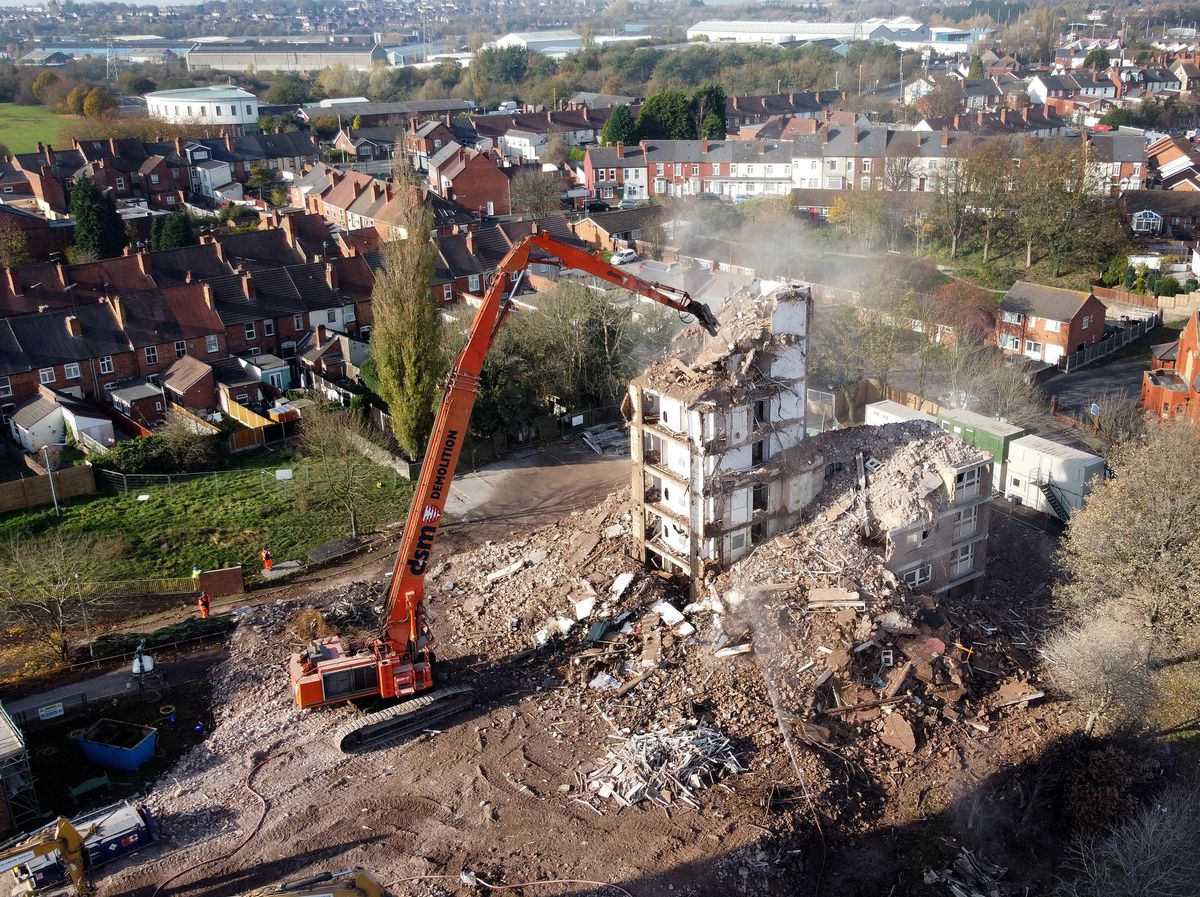 Work is progressing on the demolition of Arley and Compton Court in Netherton