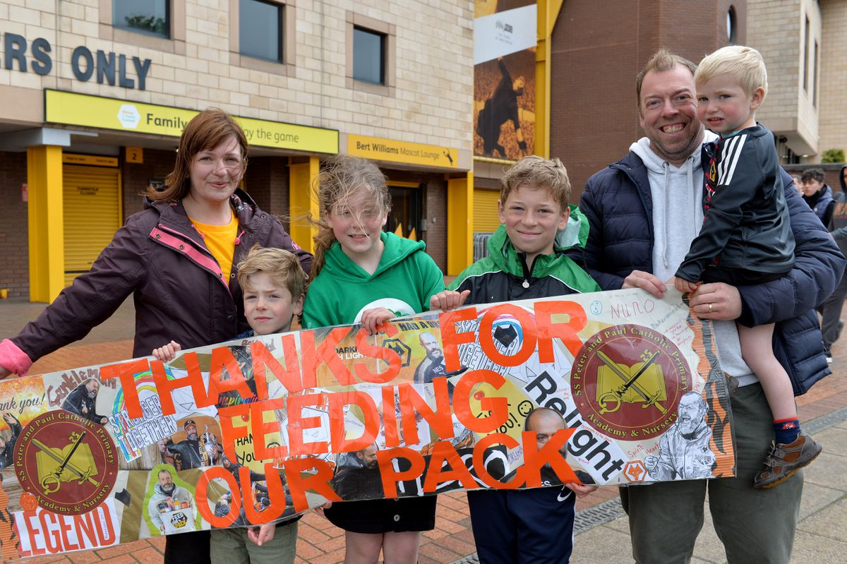 Jenny, Gerard, Rosie, Jonah, Chris and Ethan Byrne weren't going to the match, but turned out to support Wolves anyway