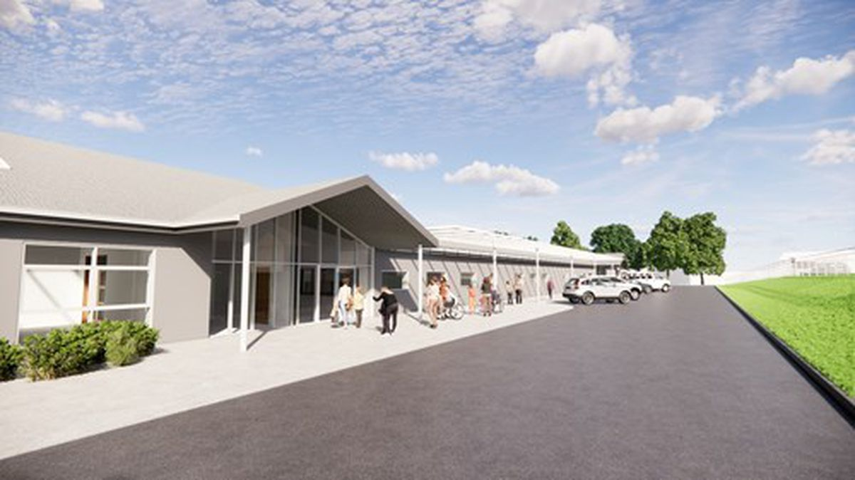 An artist's impression of the main entrance to the new Pens Meadow School