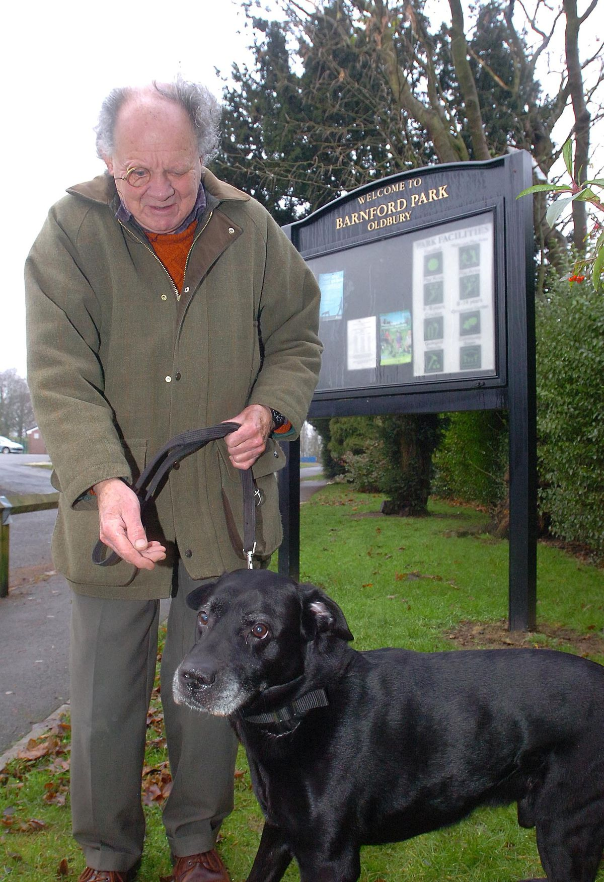 Mr Lloyd with his dog Brewie at Barnford Park, Oldbury, in 2008