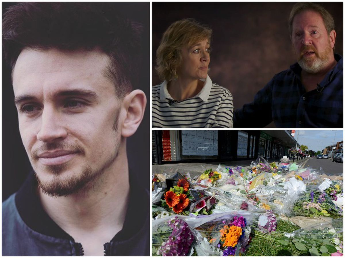 James Brindley, left, was stabbed to death by a stranger in the street in Aldridge which left a community in mourning, bottom right. Now his parents, Beverley and Mark, top right, have joined a new anti-knife crime campaign