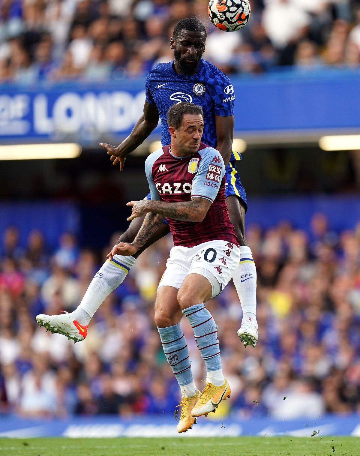 Chelsea's Antonio Rudiger out jumps Aston Villa's Danny Ings
