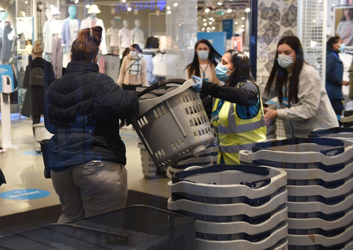 Baskets are given out to customers at Birmingham Primark