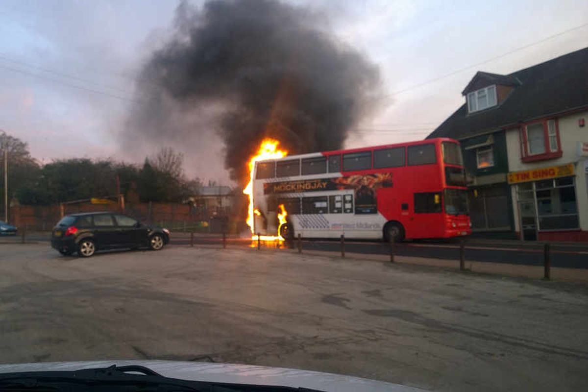 PICTURED: The moment a Black Country bus burst into flames