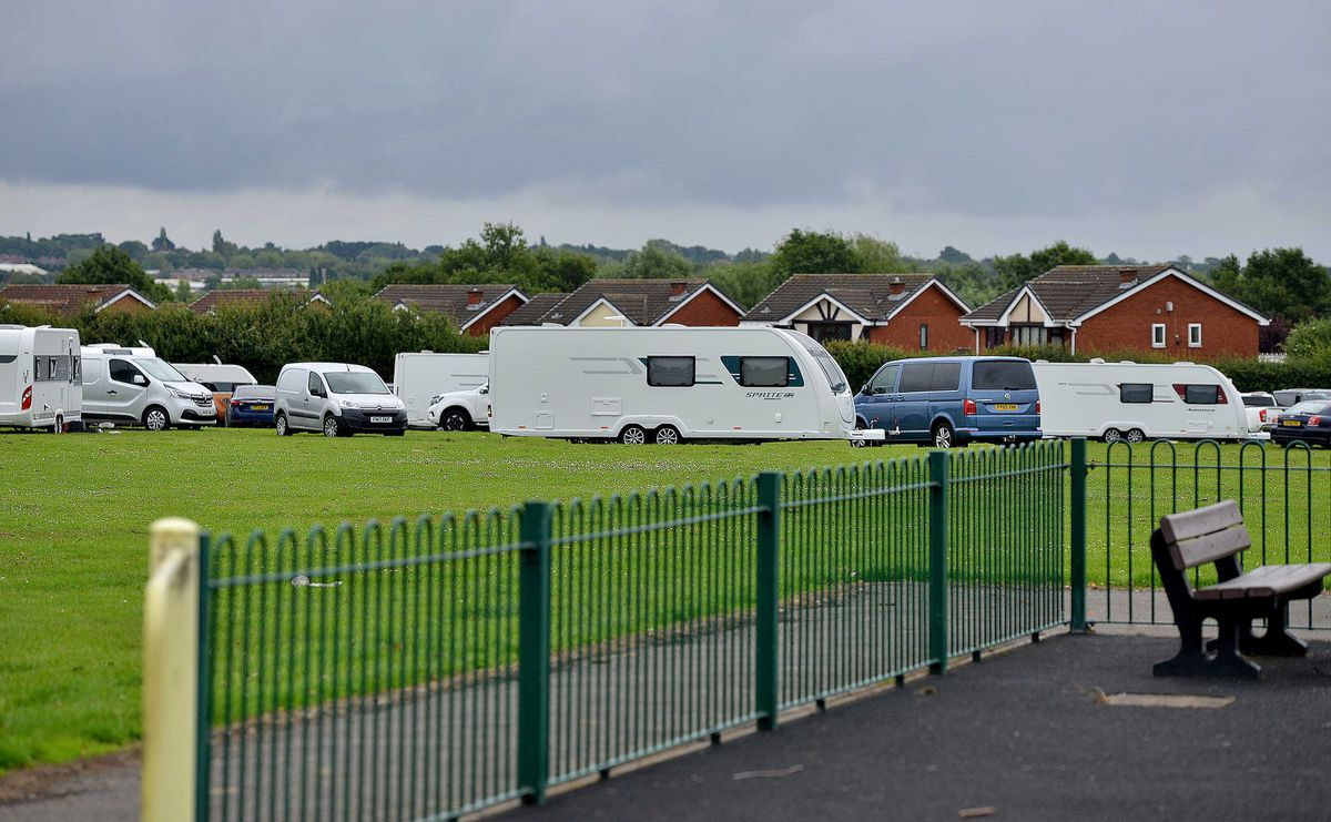 Travellers on the playing fields at Parkstone Close, Shelfield