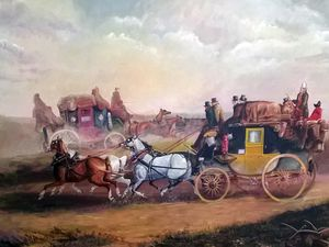 This painting depicting the Shrewsbury Wonder stagecoach by artist Jane Ganley was done especially for Graham, and based on a Victorian original.
