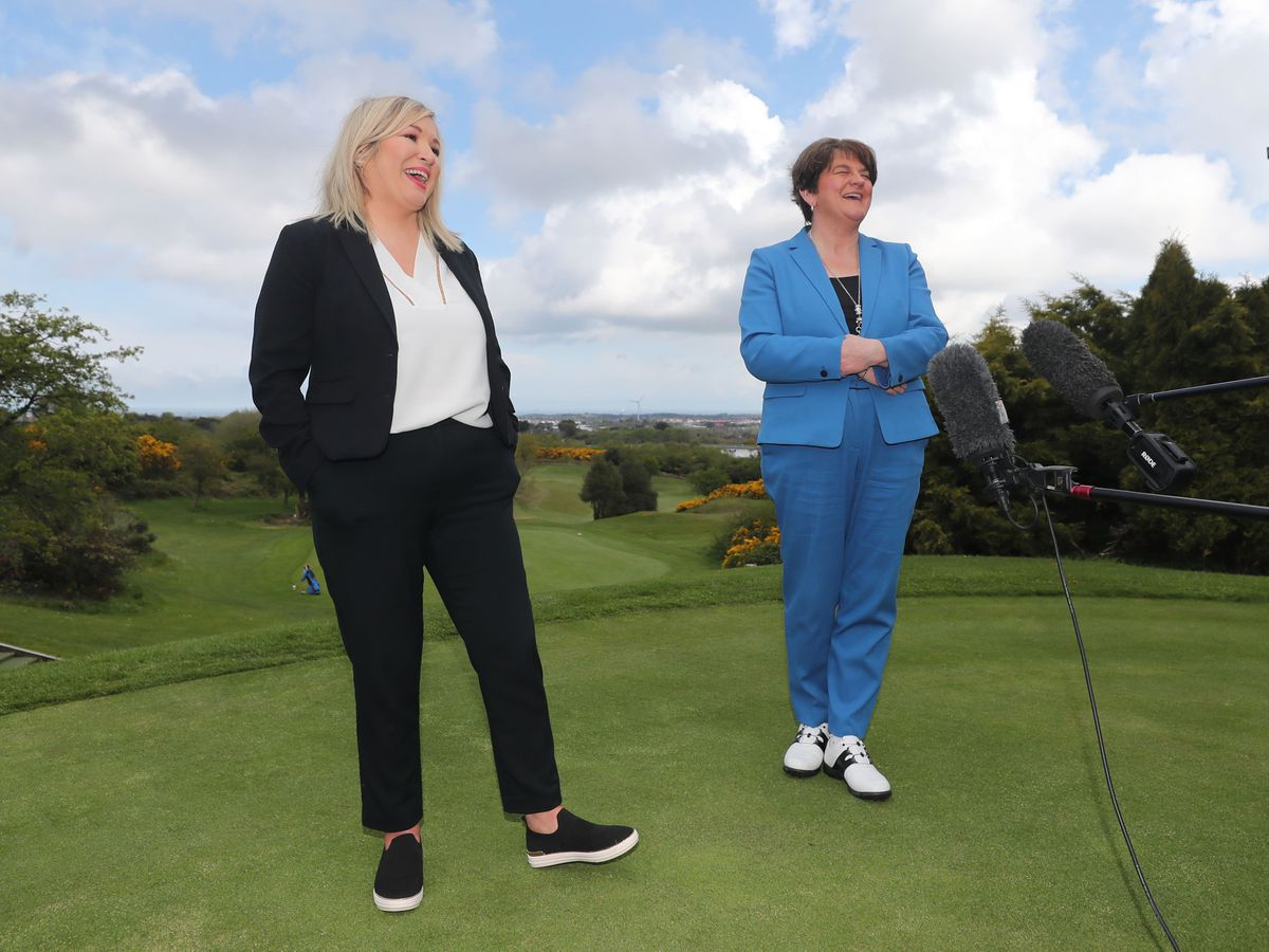 Arlene Foster and Michelle O'Neill at Clandeboye Golf Club