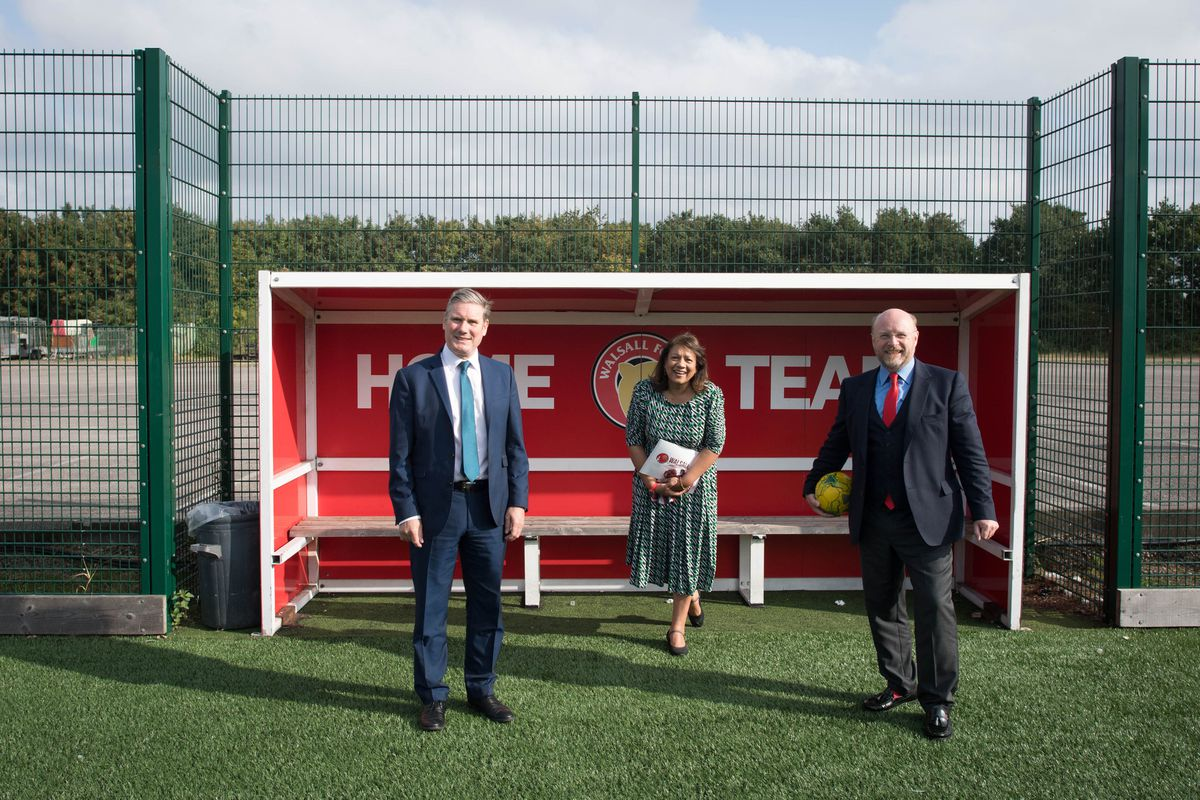 Labour leader Sir Keir Starmer (left) with MPs Liam Byrne and Valerie Vaz during a visit to Walsall FC. Photo: Stefan Rousseau/PA Wire.