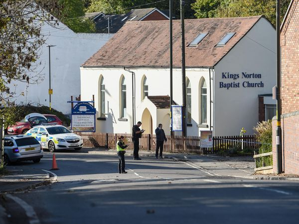 Police at the scene near Chapel Walk, in Kings Norton. Photo: Snapper SK