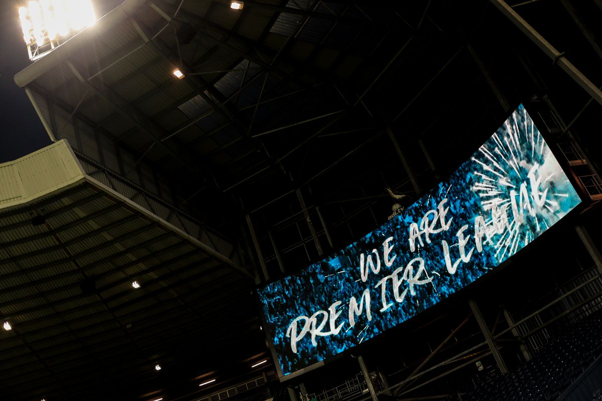 We Are Premier League is seen on a giant LED screen as promotion is confirmed. (AMA)