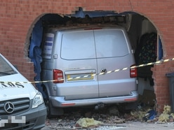 Gas pipe fractured as van crashes through wall and into house