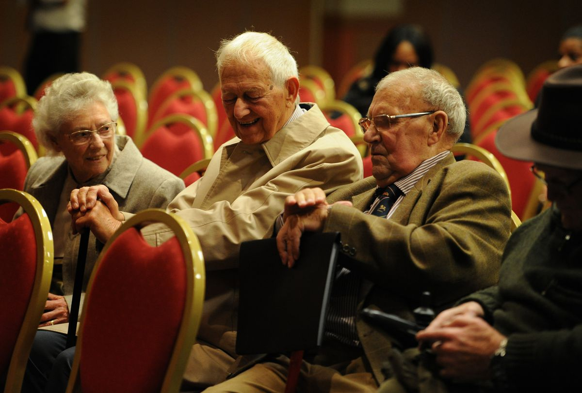 On right, community champion Peter Holmes MBE, aged 87, gave an impassioned speech during the meeting