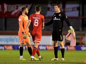 Liam Roberts at full time chats to Glenn Morris.