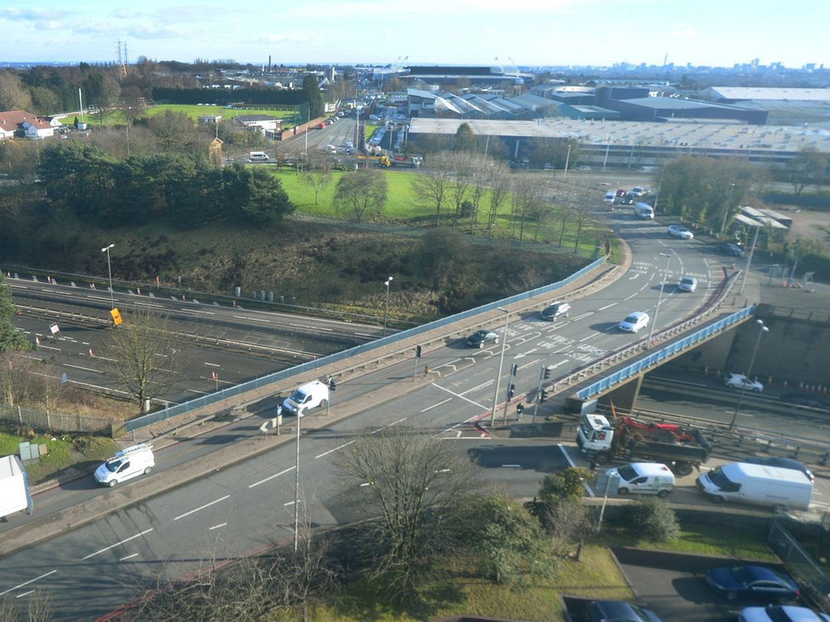 The roundabout at junction one of the M5 in West Bromwich looking towards routes for Smethwick