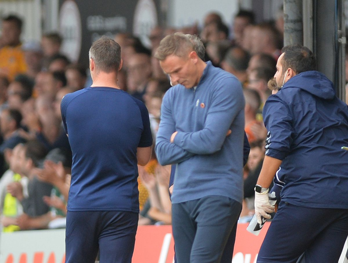 SPORT PIC MNA PIC  DAVID HAMILTON PIC  EXPRESS AND STAR 18/9/21 NEWPORT COUNTY VS WALSALL Matt Taylor afterWalsall conceed a late goal..